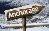 Anchorage, Alaska wooden sign — Stock Photo