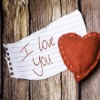 I Love You on paper and a heart — Stock Photo #62882347