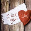 I Love You Dad on paper and a heart — Stock Photo #62883693