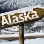 Alaska, USA wooden sign — Stock Photo #62884087