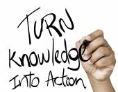 Turn Knowledge into action written — Stock Photo
