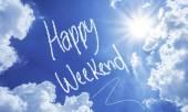 Happy Weekend written on a beautiful sky — Stock Photo