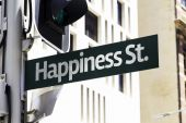 Happiness Street Creative Sign — Stock Photo