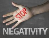 Stop Negativity on the blackboard — Stock Photo