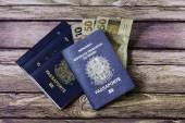 New Brazilian Passport and some brazilian money — Stok fotoğraf