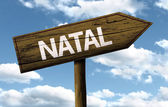 Natal, Brazil wooden sign — Stockfoto