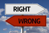 Right x Wrong Creative sign — Stock Photo