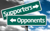 Supporters x Opponents creative sign — Stock Photo