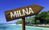 Milna wooden sign — Stock Photo