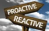 Proactive x Reactive creative sign — Stock Photo
