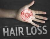 Stop Hair Loss on the blackboard — Stockfoto