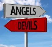 Anjos, demônios criativos sinal — Fotografia Stock