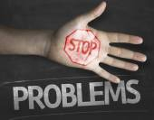 Stop Problems on the blackboard — Stock Photo