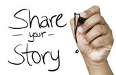 Share your story hand writing — Foto de Stock
