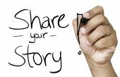 Share your story hand writing — Stock Photo