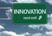 Innovation, next exit creative road sign — Stock Photo