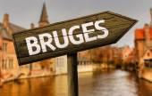 Brugge, België houten teken — Stockfoto