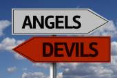 Angels, Devils Creative sign — Stock Photo