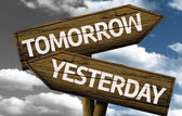 Tomorrow x Yesterday creative sign — Stock Photo