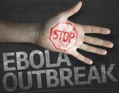 Stop Ebola Outbreak on the blackboard — Stock Photo