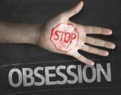 Stop Obsession on the blackboard — Stock Photo
