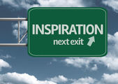 Inspiration, next exit creative road sign — Stock Photo