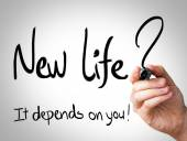 """""""New Life, it depends on you"""" Hand writing — Stockfoto"""