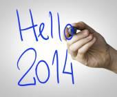 Hello 2014 hand writing — Stock Photo