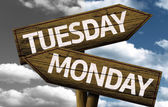 Tuesday x Monday On wooden sign — Stock Photo