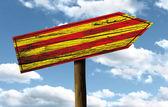 Catalonia ahşap işareti — Stok fotoğraf