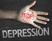 Stop Depression on the blackboard — Stock Photo