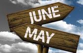 June x May On wooden sign — Foto de Stock