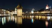 The famous Chapel Bridge in Lucerne, Switzerland. — Stock Photo