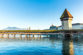 The famous Chapel Bridge in Lucerne, Switzerland. — Stock Photo