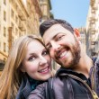 Beautiful Couple taking a selfie photo in San Francisco, USA — Stock Photo #63779567