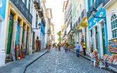 BAHIA, BRAZIL - CIRCA NOV 2014: People walk in Pelourinho area, famous Historic Centre of Salvador, Bahia in Brazil. — Stock Photo