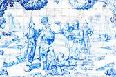 BAHIA, BRAZIL - CIRCA NOV 2014: Blue tile in Sao Francisco monastery created by Bartolomeu de Jesus in the mid-eighteenth century in Bahia, Brazil. — Stock Photo