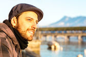 Man chilling out in Lucern, Switzerland. — Stock Photo