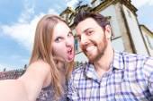 Beautiful Couple taking a selfie photo in Bahia, Brazil — Stok fotoğraf