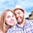 Beautiful Couple taking a selfie photo in Sao Paulo, Brazil — Stock Photo #65474467