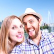 Beautiful Couple taking a selfie photo in Sao Paulo, Brazil — Stock Photo #65474477