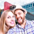 Beautiful Couple taking a selfie photo in Sao Paulo, Brazil — Stock Photo #65474479