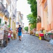BAHIA, BRAZIL - CIRCA NOV 2014: People walk in Pelourinho area, famous Historic Centre of Salvador, Bahia in Brazil. — Stock Photo #65481021
