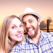 Beautiful Couple taking a selfie photo in San Francisco, USA — Stock Photo #65505415