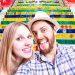 Beautiful Couple taking a selfie photo in Rio de Janeiro, Brazil — Stock Photo #65505493