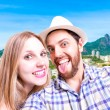 Beautiful Couple taking a selfie photo in Rio de Janeiro, Brazil — Stock Photo #65505629