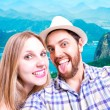 Beautiful Couple taking a selfie photo in Rio de Janeiro, Brazil — Stock Photo #65505701