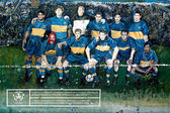 Équipe de Boca Juniors, peinte sur le mur de la rue — Photo