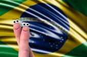 Fingers with Brazil flag — Stock Photo