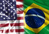 Flag symbolizing the relationship between USA and Brazil — Stock Photo